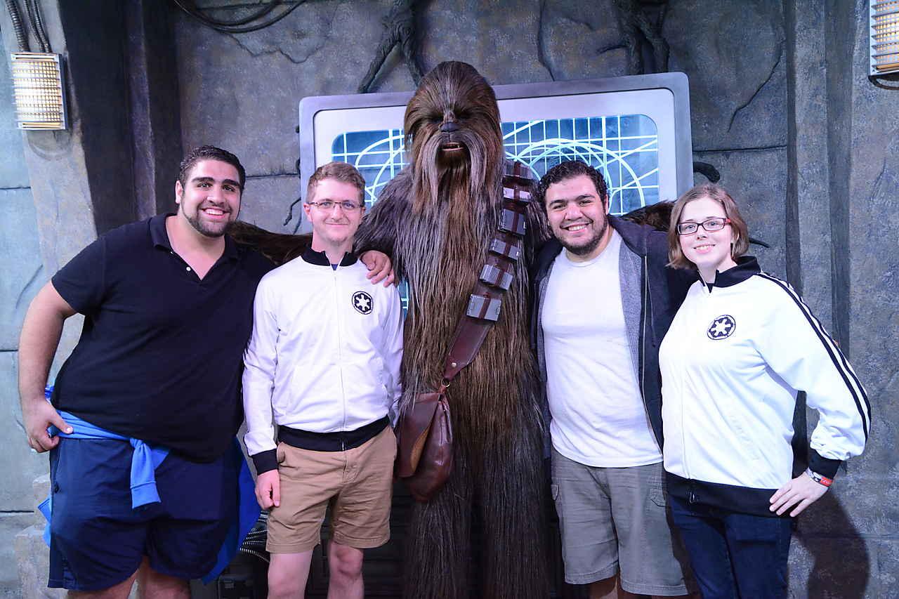 Fouad, Karim, Scott and Devanne meeting Chewbacca at Hollywood Studios